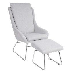 Fotel zsámollyal, szürke, LOMAN