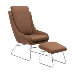 Fotel zsámollyal, barna, LOMAN
