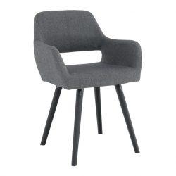 Dizájn fotel, sötétszürke-fekete, GODRIC