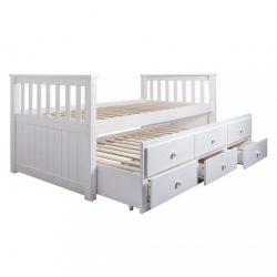 AUSTIN Kihúzható ágy, pótággyal és ágyneműtartóval, fenyőfa-fehér