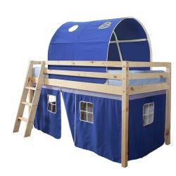Magasított ágy, természetes-kék, 90x200, INDIGO