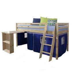 Ágy , PC asztallal, fenyőfa-kék, 90x200, ALZENA