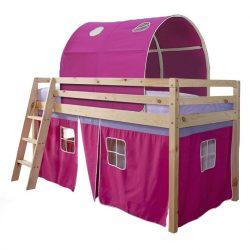 Magasított ágy, természetes-rózsaszín, 90x200, INDIGO