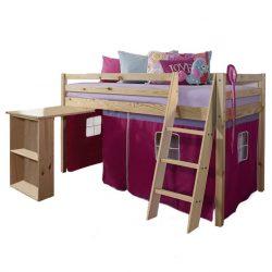 Magasított ágy íroasztallal,boróka-rozsaszín.ALZENA