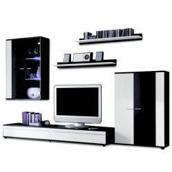 Nappali bútor, LED világítással, fehér-fekete extra magas fény HG, CANES New