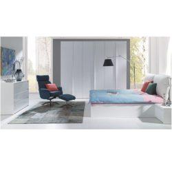 Hálószoba garnitúra, fehér-extra magasfényű HG, ITALIA