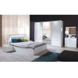 Hálószoba garnitúra (Szekrény+Ágy 160x200+2x éjjeliszekrény), fehér-magasfényű fehér HG, ASIENA