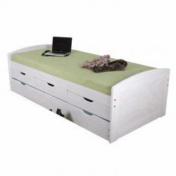 Ágy mellékággyal, fehér, 90x200, MARINELLA