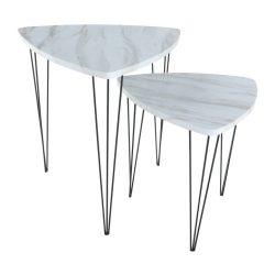 2 db kávézóasztal, fehér márvány-fekete fém mintázat,  STOFOL