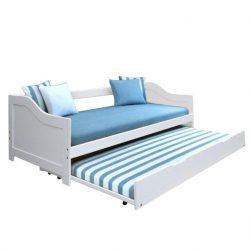 Ágy mellékággyal, tűnyalábos fenyőfa-fehér, 90x200, INTRO
