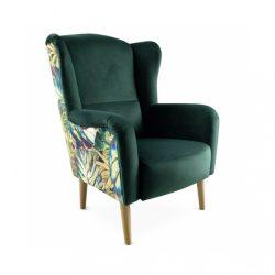 Dizájnos fotel, szövet smaragd-minta Jungle, BELEK