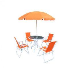 Kerti bútor szett, narancssárga-fehér, ODELO