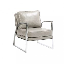 Dizájnos fotel, ezüst-szürke-ezüst, KUMON