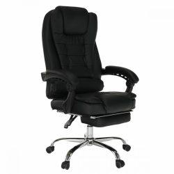 TICHON NEW Irodai szék kihúzható lábtartóval, fekete