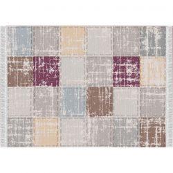 Szőnyeg, barna-szürke-bordó-minta kocka, 80x150, FIRBI