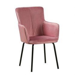 Dizájnos fotel, rózsaszín bársony-fekete, VETAR