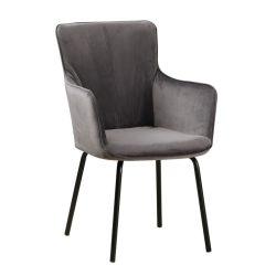 Dizájnos fotel, szürke bársony-fekete, VETAR