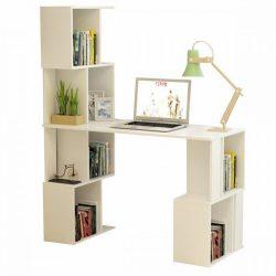 FLOKI NEW PC asztal könyvespolccal, fehér