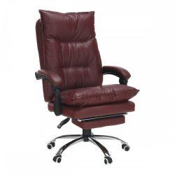 DRAKE Irodai szék lábtartóval, műbőr bordó