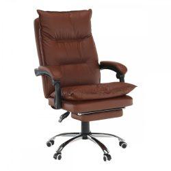 DRAKE Irodai szék lábtartóval, műbőr barna