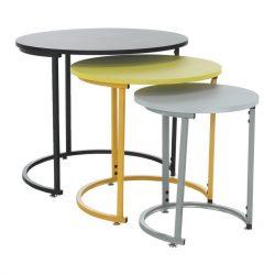 Szett három kisasztal, fekete-sárga-szürke, RONEL NEW
