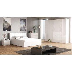 Hálószoba garnitúra, fehér-extra magasfényű HG, ITALIA NEW