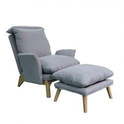 Fotel lábtartóval, világosszürke-természetes, ZANDER
