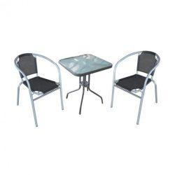 Kerti bútor szett, fekete-ezüst, DENZER 1+2
