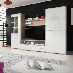 Nappali bútor, tölgy sonoma-fehér matt, FREDO