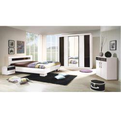 Hálószoba garnitúra, fehér-fekete, Rublin