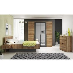 Hálószoba, szekrény+ágy+2 éjjeliszekrény, tölgyfa + fehér, MEDIOLAN