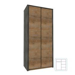 Kétajtós szekrény, tölgy lefkas sötét-smooth szürke, MONTANA S2D