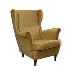 Füles fotel, bézs-arany-dió, RUFINO