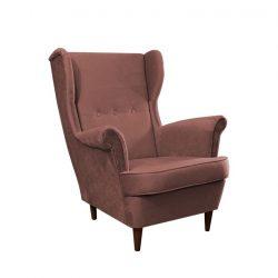Füles fotel, rózsaszín-dió, RUFINO