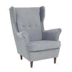 Füles fotel, világosszürke-dió, RUFINO