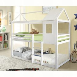ATRISA Montessori emeleteságy, fehér, 90x200