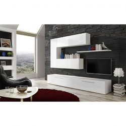 Nappali bútor, fehér-fehér extra magasfényű HG, ARIZONA
