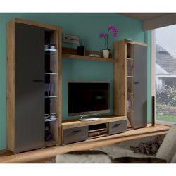 Nappali bútor, tölgy lefkas-grafit, NESEBAR XL