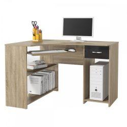 UMAG Sarok PC asztal, tölgy sonoma-magasfényű fekete