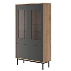Vitrines szekrény, tölgy jasdbon hickory-grafit, BERGEN BW104