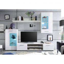 Nappali bútor, fehér extra magasfényű high gloss-fehér, HENRI NEW