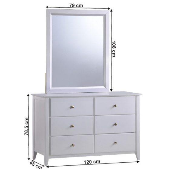 Komód tükörrel, fehér, JAVA 6