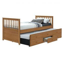 Ágy mellékággyal, 90x200, tölgy,  AUSTIN NEW