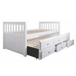 AUSTIN NEW Ágy, pótággyal és ágyneműtartóval, fenyőfa/fehér