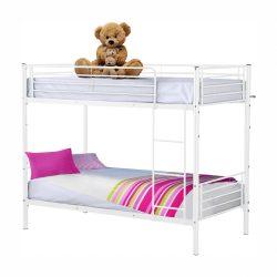 JAMILA Fém szétnyithatós emeletes ágy, fehér, 90x200,