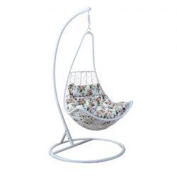 KALEA NEW Modern függő fotel fehér keret+fehér rattan+virág minta