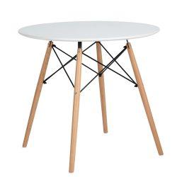 DEMIN Étkezőasztal, fehér matt/bükk