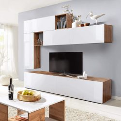 MIRALDA Nappali szekrénysor, fehér extra magasfényű/wotan tölgy