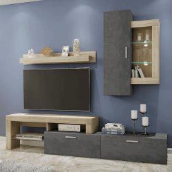 CALABRIA Nappali szekrénysor, sonoma tölgy/sötét beton