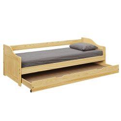 LAURA Ágykeret kihúzható pótággyal, fenyő tömörfa, 90x200